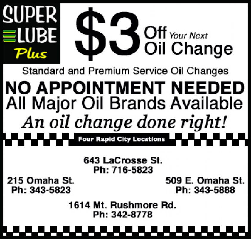 Coupons Super Lube Rapid City